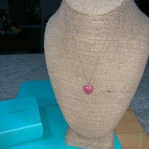 Tiffany & Co RARE Pink Rhodonite Heart Necklace